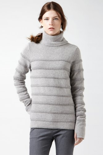 Long Sleeve Turtleneck Mohair Rib Sweater