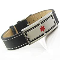 "Lap Band Leather Medical ID Bracelet, PRE-ENGRAVED 5""-7"" from My Identity Doctor"