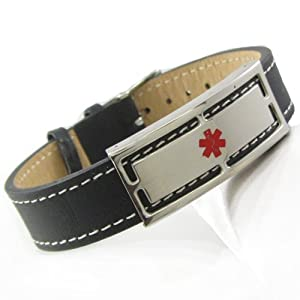 "Warfarin Alert Medical ID Bracelet, Leather, PRE-ENGRAVED 5""-7"" from My Identity Doctor"