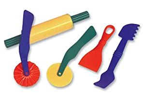 School Smart Plastic Dough Tools - Set of 5 - Assorted Colors
