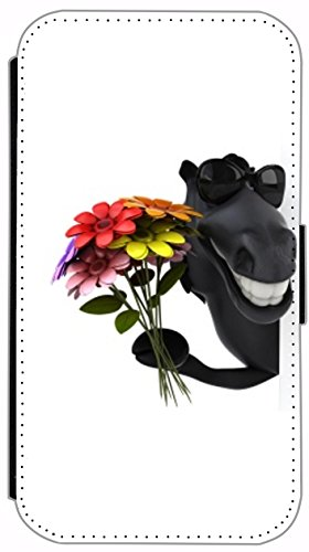 Flip Cover für Apple iPhone 6 / 6S (4,7 Zoll) Design 168 Pferd mit Blumenstrauß Schwarz / Rot Hülle aus Kunst-Leder Handytasche Etui Schutzhülle Case Wallet Buchflip mit Bild (168)