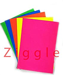 Ziggle Fluorescent A4 Size Sheets Double Sided Multicolor Fluorescent Neon Craft colored paper (50 A4 sheets)