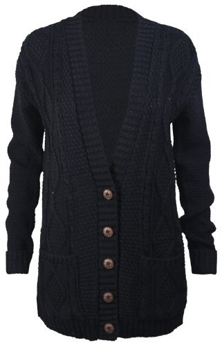 New Womens Everyday Long Sleeve Button Top Ladies Chunky Aran Cable Knit Grandad Cardigan Black Size 12 14