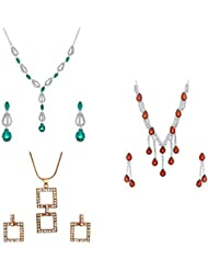 Oviya Rhodium Plated Combo Of Three Necklace Set & Pendant Set For Women CO1104566M