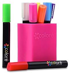 Colore Liquid Chalk Markers - Best For Restaurant Menu Board, Windows, Blackboard, Chalkboard Paint, Glass Mirror - FREE Colored Pen Holder - 6mm Reversible Tip - For Kids & Artist - 8 Vibrant Colors