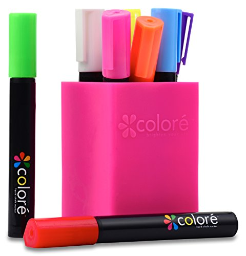 Colore Liquid Chalk Markers - Best For Restaurant Menu Board, Windows, Blackboard, Chalkboard Paint, Glass Mirror - FREE Colored Pen Holder - 6mm Reversible Tip - For Kids & Artist - 8 Vibrant Colors (Sales Board compare prices)