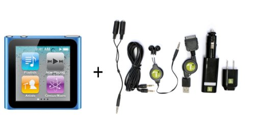 Apple iPod nano 8 GB Blue (6th Generation) REFURBISHED + 6 Pc. Accessory Kit (Includes Auxiliary Cable))