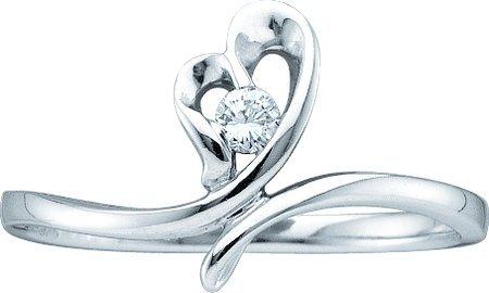 0.05CTW ROUND DIAMOND HEART LADIES BRIDAL RING
