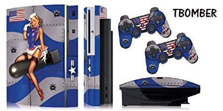 Protective skins for FAT Playstation 3 System Console, PS3 Controller skin included - TBOMBER BLUE