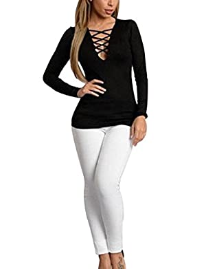 Angel Women V Neck Cross Lace-up Long Sleeve Tops Blouse Casual T Shirt Hot