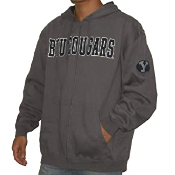 NCAA Brigham Young Cougars Mens Zip-Up Hoodie with Embroidered Logo by NCAA