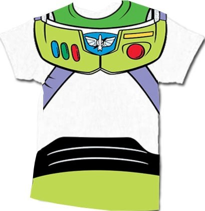 Toy Story Buzz Lightyear Astronaut Costume White Adult T-shirt tee