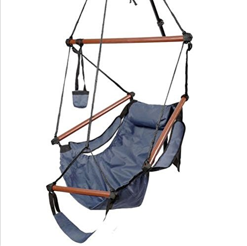 Outdoor Indoor Hammock Hanging Chair Air Deluxe Sky Swing Chair Solid Wood Blue 250 Lb front-504748