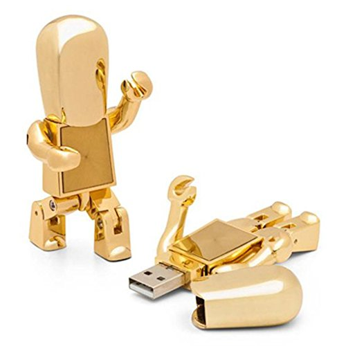 CHUYI Cute High Speed Metal Robot Shape USB 2.0 Flash Drive Memory Stick 8gb Golden