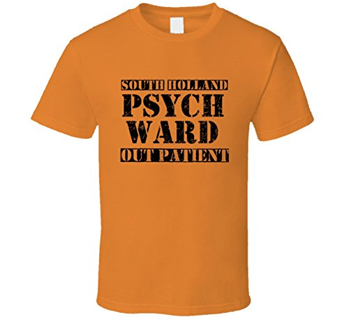 South Holland Illinois Psych Ward Funny Halloween City Costume T Shirt 2XL Orange (Holland Costume City)