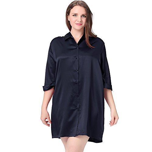 LilySilk Seide Nachthemd Nachtshirt Sexy in Großen Größen 22 Momme Dunkel Blau 3X