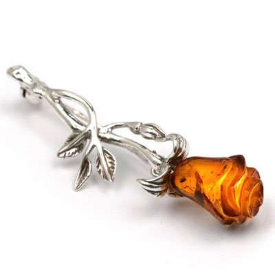 Baltic Honey Amber Sterling Silver Museum Collection Classic Flower Pin 19th Century