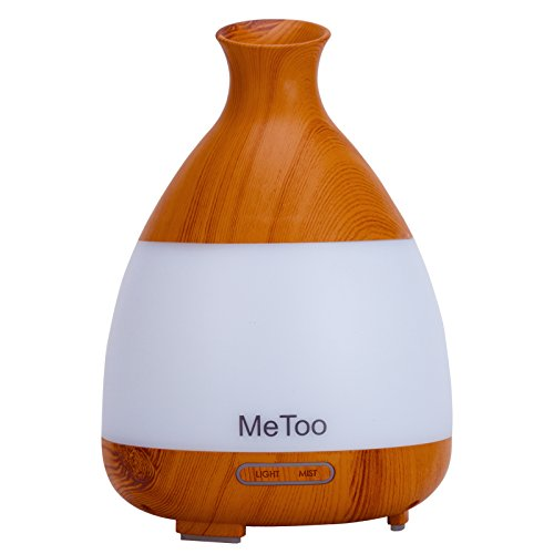 MeToo Aroma Diffuser 120ml Hundred Milliliters of Ultrasonic Humidifier Cold Mist Oil Diffusion Colorful LED Lights is Suitable for Home,Babyroom-Wood Grain