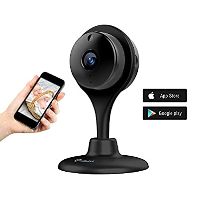 miSafes 1080p HD Mini Smart Wireless Wifi Indoor Home Day Night Security Surveillance Nanny Camera Two-Way Audio Motion Alerts Remote View Cam Easy Bluetooth Connection 304 Black from miSafes