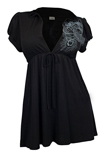 eVogues Plus size Black Low cut v-neck Hoodie top - 1X (Babydoll Tops For Women compare prices)