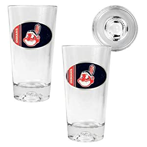 MLB Cleveland Indians Two Piece Pint Ale Glass Set with Baseball Bottom - Oval Logo by Great American Products