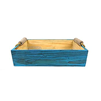 Vintage Rustic Wooden Crate Trays with Rope Handles- Set of 3 - Pirate Home Decor Gift - Nagina International
