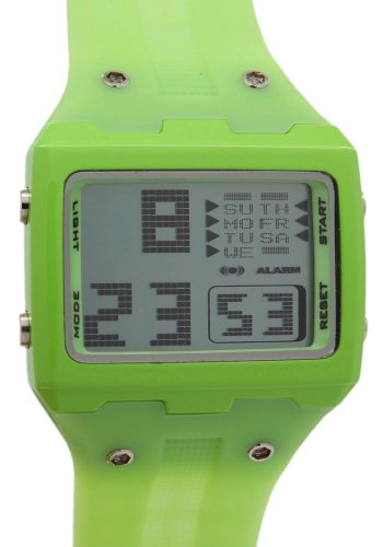 OTS Green Rubber Band Alloy Digital Sport Life Grey Dial Watches