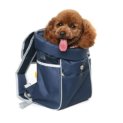 Lifeunion Small Dog Cat Carrier Portable Outdoor Travel Front Backpack Pet Carry Carrier Bag for Shopping (Dark Blue)