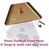 Music Maker Lap Harp (Zither) with 12 Classic Songs PLUS Bonus Packet of 12 Disney Songs (six double sided sheets)