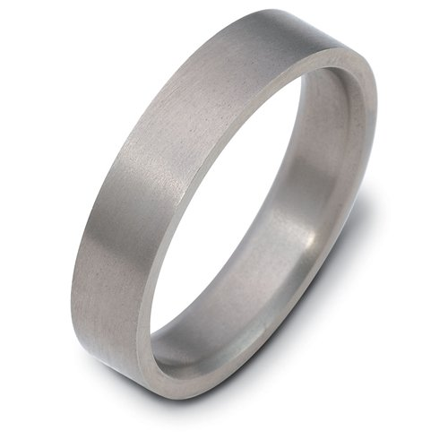Titanium, Flat Style 5MM Wedding Band (sz 5.5)