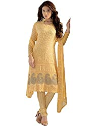 Isha Enterprise Women's Chiffon Dress Material(KFD275-1628_Yellow)