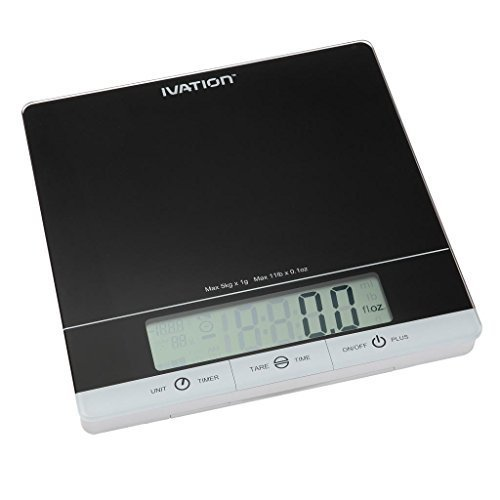 Ivation Glass Top Digital Kitchen Scale w/Timer, Clock, Temperature & RH Levels - Provides Super Accurate Readings in Ounce, Fluid Ounce, Milliliter, Pound:Ounce & Gram Weight Units - Features 11-Pound Capacity & One-Button Tare Setting - Black by Ivation