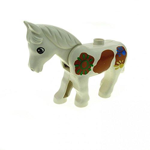 1 x Lego Duplo Tier Pferd weiß braun mit Bemalung
