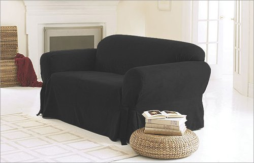 3 Pieces Solid Black Suede Couch/sofa Cover with Loveseat and Chair Slipcover