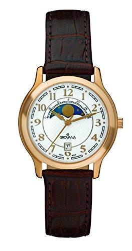 GROVANA - 3026.1563 - Montre Mixte - Quartz - Analogique - moon age display - Bracelet Cuir marron