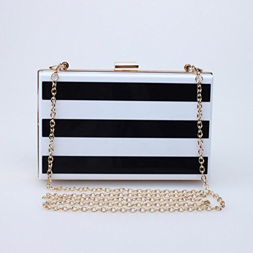 Borsa a righe sera borsa acrilico banchetto bianco e nero la signora della moda (18 * 10.5 * 5cm)