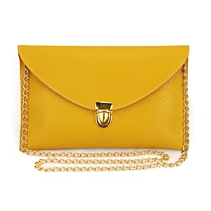 Women Envelope Clutch Evening Purse Handbag with Gold Chain Strap (mustard)