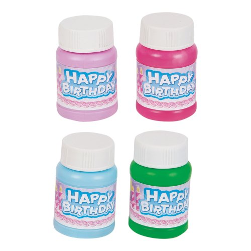 Mini 1oz. Happy Birthday Bubbles 24/pack - Assorted Colors