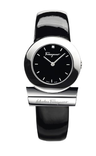 Ferragamo Women's F56SBQ9909J S009 Gancino Black Patent Band Logo Watch