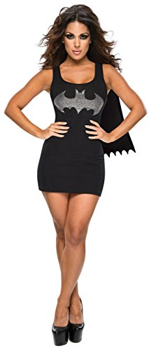 Rubie's DC Comics Justice League Superhero Style Adult Dress with Cape Rhinestone Batgirl, Black, Medium (Best Halloween Costumes Sexy)