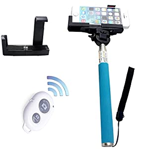 YIXIN Extendable Waterproof Self Portrait Photo Selfie Handheld Stick Monopod + Adjustable Phone Holder Stand for iPhone 5/5s 5C iPhone 6 Samsung Blackberry Camera + Wireless Camera Bluetooth Self-timer Remote Shutter Controller for IOS Android Smartphone