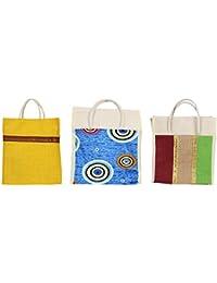 Cristal Bags Jute Shopping Bags (Pack Of 3, Jute-749)