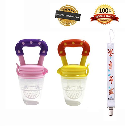 Tinabless Fresh Baby Food Feeder Teether Nibbler 2 Count with Clip for Girl M (Mesh Fruit Baby compare prices)