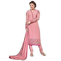 Momai Creation Women's Faux Georgette Pink Unstitched Dress Material (MCV-Prachi-1006)