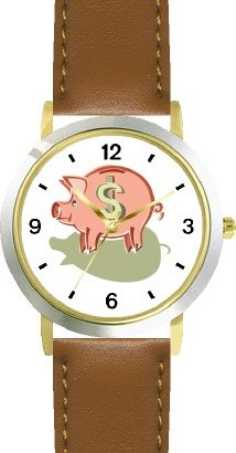 Piggy Bank - Pig Animal - WATCHBUDDY DELUXE TWO-TONE THEME WATCH - Arabic Numbers - Brown Leather Strap-Size-Children's Size-Small ( Boy's Size & Girl's Size )