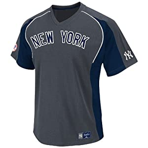 MLB New York Yankees Cleanup Hitter V-Neck Top, Granite Navy White by Majestic