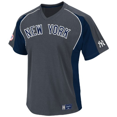 MLB New York Yankees Cleanup Hitter V-Neck Top, Granite/Navy/White, Large
