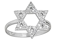 buy 14K White Gold Plated 925 Sterling Silver Cubic Zirconia Micropave Star Of David Ring