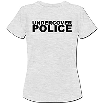 Undercover Police Fancy Dress Copper Old Bill Womens Ladies Cotton Short Sleeve Ash Grey T-Shirt - Size XS / 8