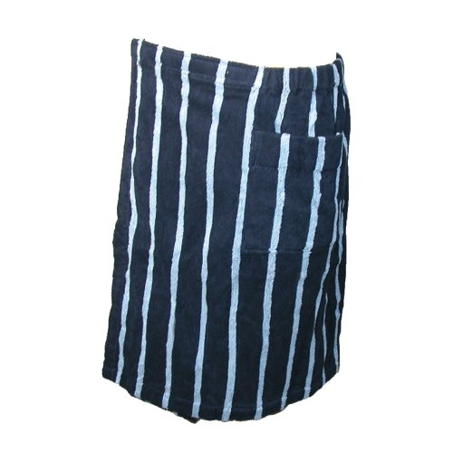 Majestic International Mens Terry Cotton Striped Shower Wrap Towel, Navy back-213732